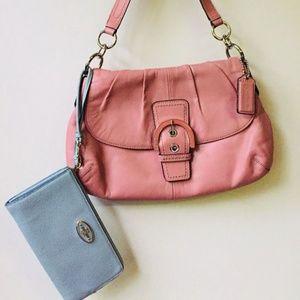COACH Rose Leather Handbag & COACH Aqua Leather Wa
